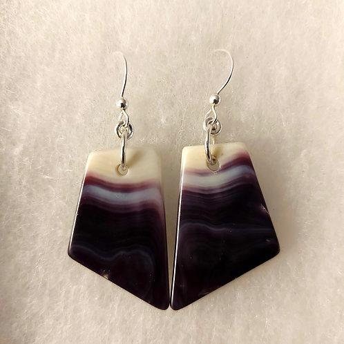 Dark purple  wampum earrings