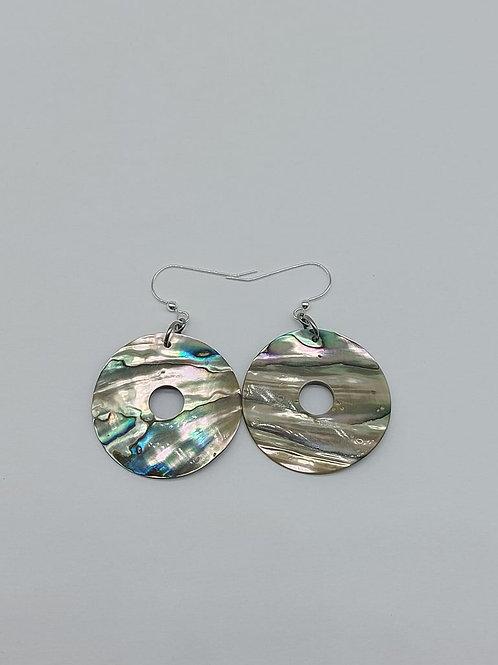 Round O abalone earrings