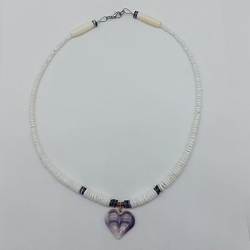 Heart wampum and shell necklace 20""