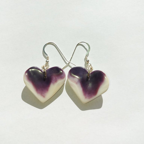 Heart wampum earring
