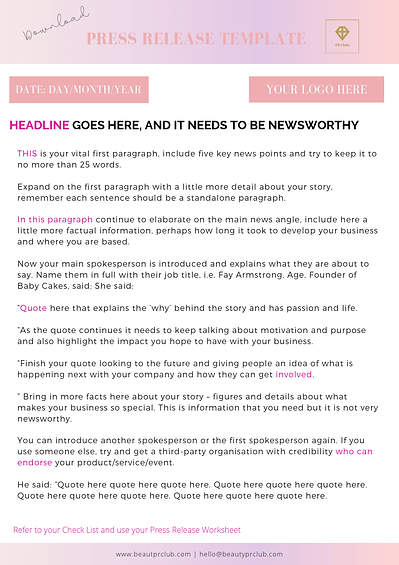 Press Release Template Beauty PR Club.pn