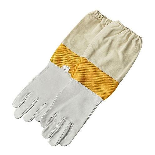 Rukavice kožené biele s vetraním a gumou