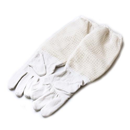 Rukavice kožené biele so sieťovinou