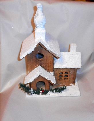 Schneehäuschen mit Leds Holz handgemacht 41cm
