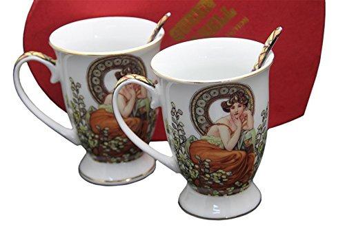"""Alfons Mucha Tee- Kaffeetassenset """"Ruby"""" weiss Porzellan mit Geschenkbox NEU"""
