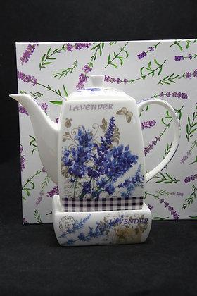 """Tee Kaffeekanne """"Lavendel"""" Porzellan Geschenkidee"""
