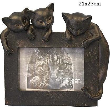 Bilderrahmen mit Katzentrio 21x23cm Fotorahmen 10x15cm Keramik