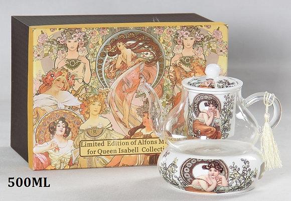 "Tee Kaffeekanne Alfons Mucha ""Ruby"" Porzellan/Glas"