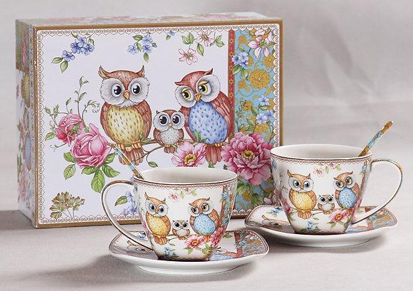 Tee-/Kaffeetassen Set mit Eulenmotiv in Geschenkbox 6teilig