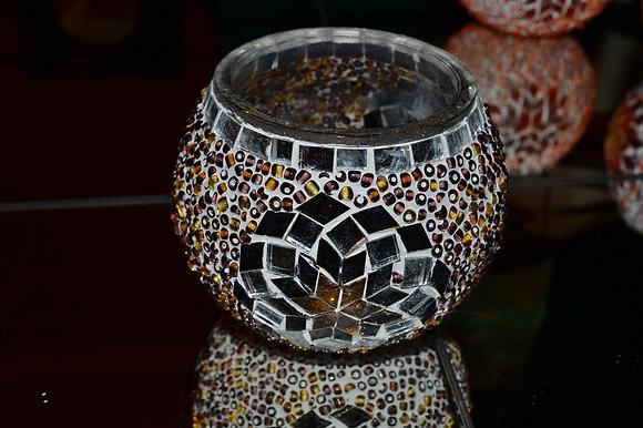 Teelicht Mosaik Braunton handgefertigt