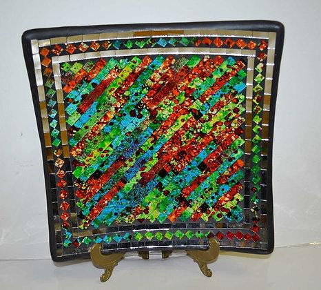 Teller in Mosaiktechnik Dekoteller Colorful Green 28x28cm Mosaikteller