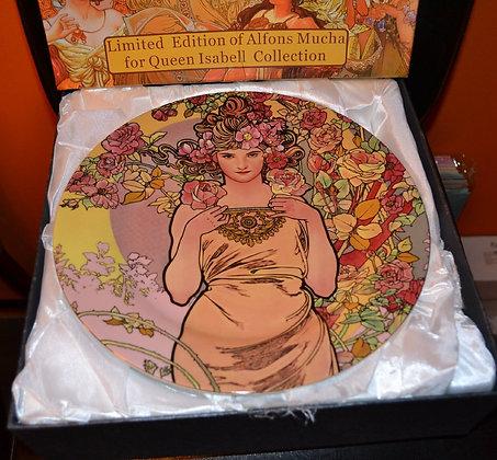 Alfons Mucha Tortentellerset 8teilig Porzellan Motiv Rose