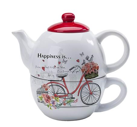 Tea for one Set 3-teilig Porzellan Teekanne, Deckel und Tasse Happiness