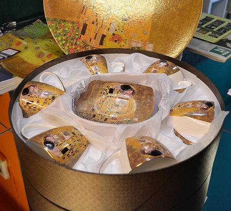 "Gustav Klimt Tee- Kaffeeservice 18teilig Motiv ""Der Kuss"" beige"