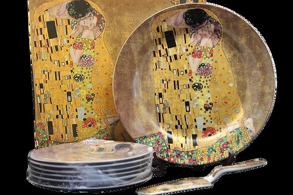 """Tortentellerset Gustav Klimt 8teilig Porzellan Motiv """"Der Kuss"""" beige"""