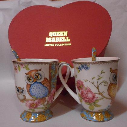 Tee-/Kaffeetassen Set mit Eulenmotiv in Geschenkbox Herz 4teilig
