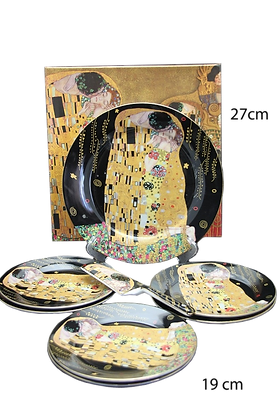 """Tortentellerset Gustav Klimt 8teilig Porzellan Motiv """"Der Kuss"""" schwar"""