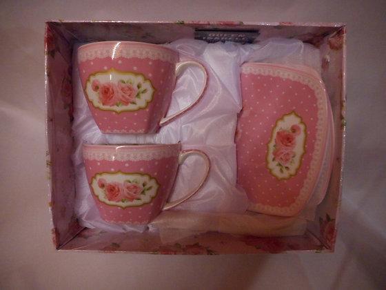 "Tee-Kaffeetassenset ""Zartrosa"" Porzellan mit Geschenkbox 6teilig"