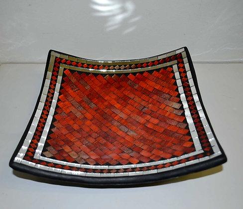 Teller in Mosaiktechnik Dekoteller Rot Orange 28x28cm