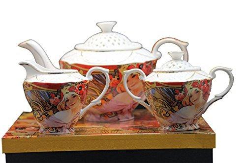 Alfons Mucha Tee- Kaffee Set 3teilig Porzellan Motiv Biscuits Lefevre Utile