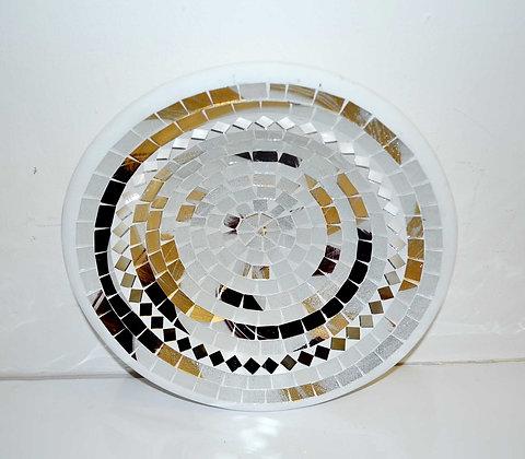 Teller in Mosaiktechnik Dekoteller silber/braun 27cm