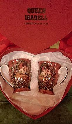 "Alfons Mucha Tee- Kaffeetassenset ""Ruby"" braun Porzellan mit Geschenkbox"