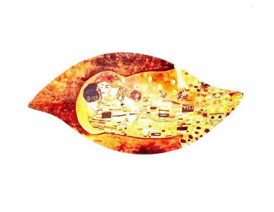 "Gustav Klimt Glasteller ""Der Kuss"" Blattform 25,5cm x 12cm"