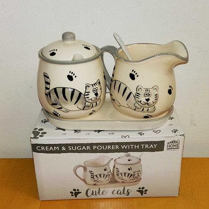 Milch und Zuckerdose Happycat 5teilig