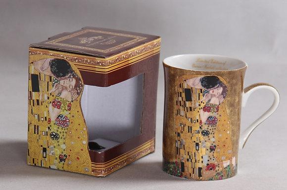 """Gustav Klimt Tee-/Kaffeetasse """"Der Kuss"""" beige Porzellan inkl. Geschenkbox"""