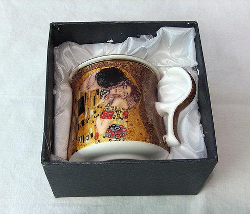Tasse mit Filter und Deckel beige Teebecher Gustav Klimt der Kuss