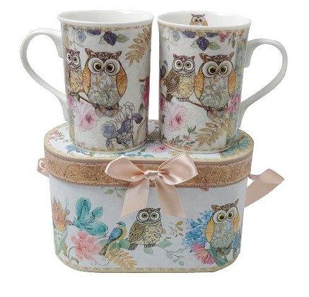 Tee-/Kaffeetassen Set mit Eulenmotiv in Geschenkbox 2teilig