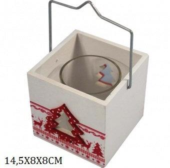 Teelichthalter Holz Tannenbäumchen mit Glas