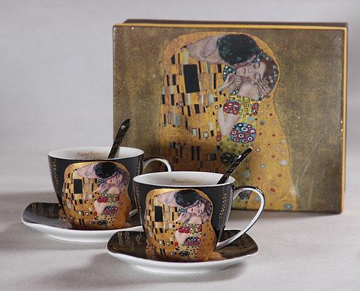 """Gustav Klimt Tee- Kaffeetassenset 4teilig """"Der Kuss"""" Porzellan schwarz"""