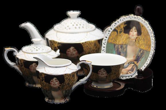 "Gustav Klimt Tee- Kaffeeservice 15teilig Porzellan Motiv ""Judith"""