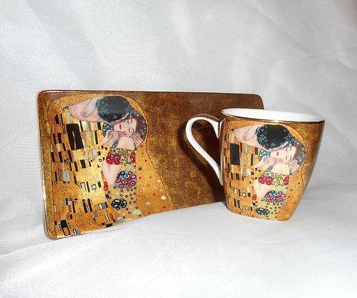 """Gustav Klimt Espressoset """"Der Kuss"""" beige  4teilig"""