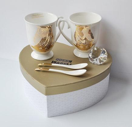 Tee-/Kaffeetassen Set mit Eulenmotiv Gold in Geschenkbox Herz 4teilig