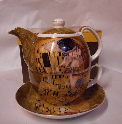 """Gustav Klimt Tee for One """"Der Kuss"""" beige Porzellan mit Geschenkbox"""