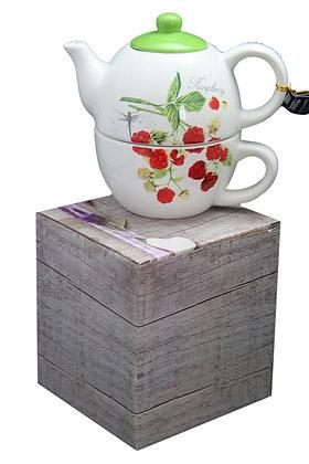 Tea for one Set 3-teilig Porzellan Teekanne, Deckel und Tasse Himbeere