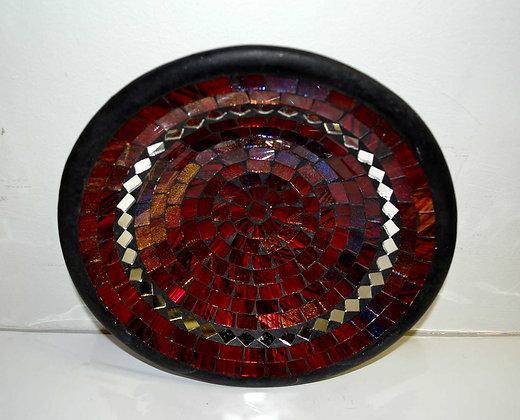Teller in Mosaiktechnik Dekoteller Weinrot 27cm