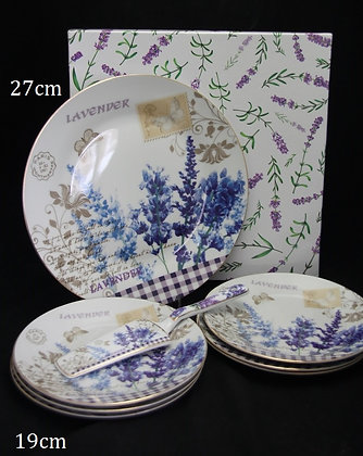 "Tortentellerset 8teilig Porzellan Motiv ""Lavendel"" Geschenkset"