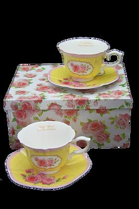 "Tee-Kaffeetassenset ""Rosengelb"" Porzellan mit Geschenkbox 4teilig"