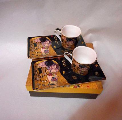 """Gustav Klimt Espressoset """"Der Kuss"""" schwarz 4teilig"""