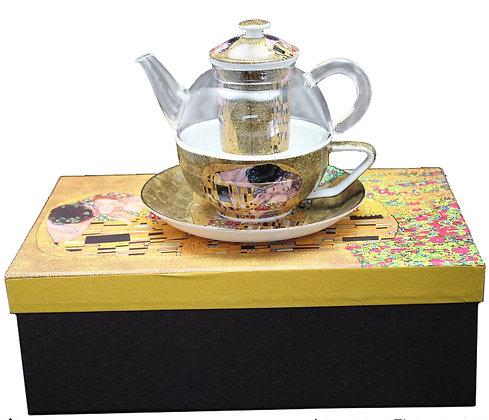 """Gustav Klimt Tee for One """"Der Kuss"""" beige  Glas/Porzellan mit Geschenkbox"""