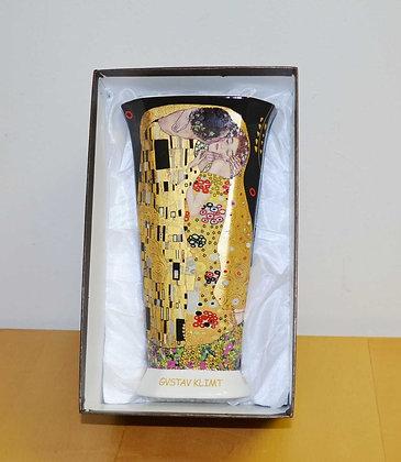 Klimt Vase Der Kuss Porzellan schwarz XL
