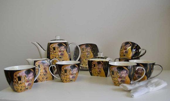 Gustav Klimt Tee- Kaffeeservice 21teilig schwarz Porzellan Motiv Der Kuss
