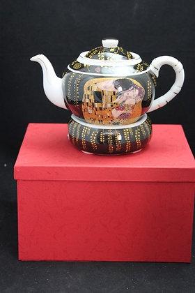 """Gustav Klimt Tee Kaffeekanne """"Der Kuss"""" schwarz Porzellan rund"""