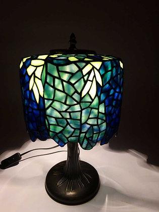 """Tischlampe Tiffanystil """"Wisteria Blätter"""" Glas Tischlampe Nachttischlampe"""