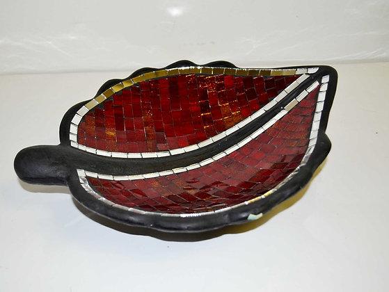 Teller in Mosaiktechnik Blattform Dekoteller Weinrot 35x22cm Mosaikteller