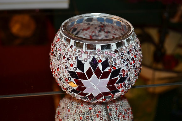 Teelicht Mosaik Violettton handgefertigt