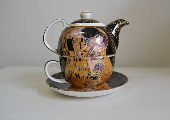 """Gustav Klimt Tee for One """"Der Kuss"""" Porzellan mit Geschenkbox"""